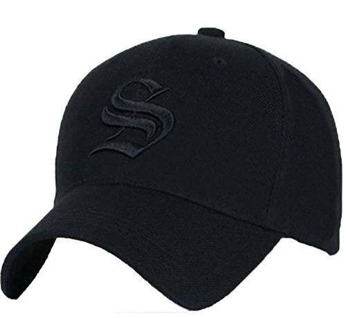 Gorra de béisbol ajustable unisex con letra S en estilo gótico S black black