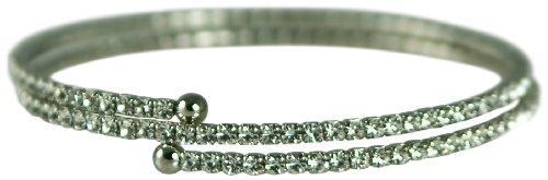 2 ROW GENUINE AUSTRIAN CRYSTALS COIL FLEXIBLE BRACELET (SILVER) (Genuine Austrian Crystal Bracelet)