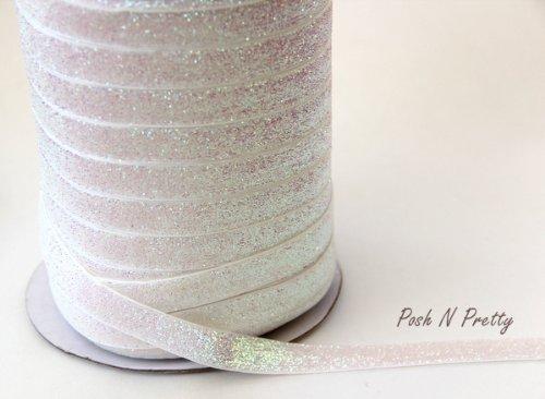 5 YARDS 5/8 Glitter Stretch Velvet Elastic Metallic NO FLAKE Trim- SPARKLE WHITE (Glitter Stretch Velvet)