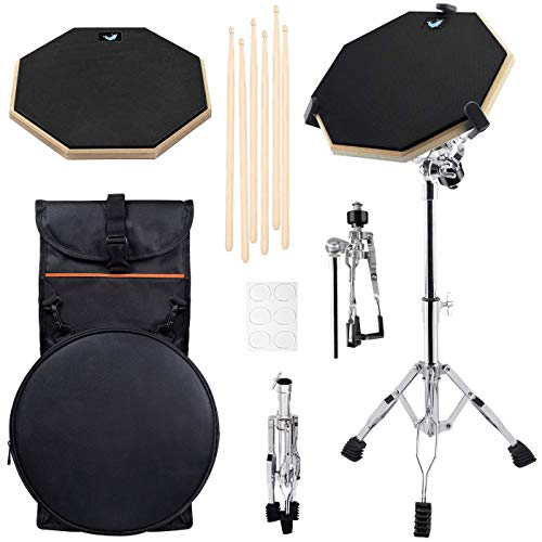 Drum practice pads with stand - 12 Inch Double Side Drum Pad with Adjustable Snare Drum Stand, 3 Pairs of 5A Drum Sticks and Carry Backpack (Drum practice pads with stand)