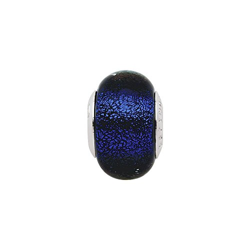 Persona Sterling Silver Italian Glass Shattered Glass Indigo Charm fits European Charm Bracelets by Persona