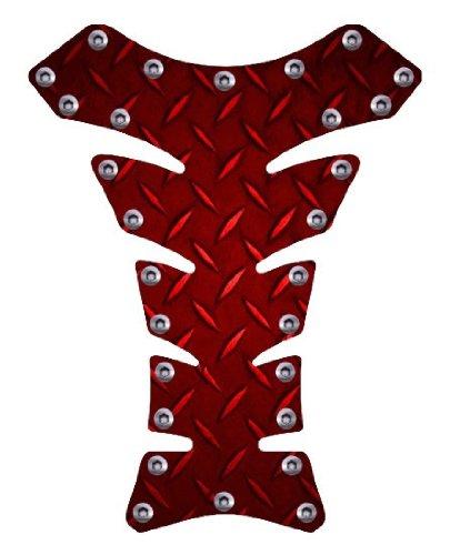 - Motorcycle sportbike Red diamondplate rivets 3d gel Tank Pad tankpad protector