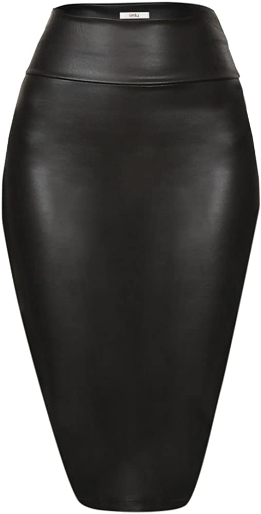 Faux Leather Pencil Skirt Below Knee Length Skirt Midi Bodycon Skirt Womens at  Women's Clothing store