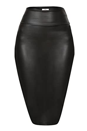 f93bb0e1acef8 Faux Leather Pencil Skirt Below Knee Length Skirt Midi Bodycon Skirt Womens,  USA (Size