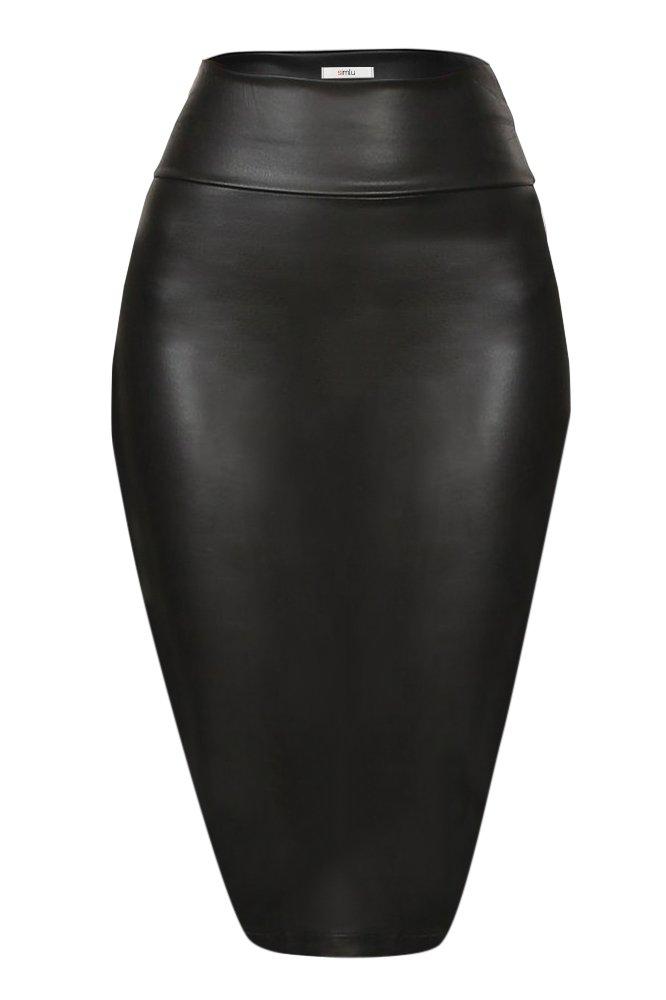 Faux Leather Pencil Skirt Below Knee Length Skirt Midi Bodycon Skirt Womens, USA Black Small
