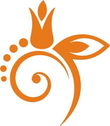 WANDTATTOO / Wandaufkleber f40 wundervolles Blümchen mit Blättern 120x104 cm - orange