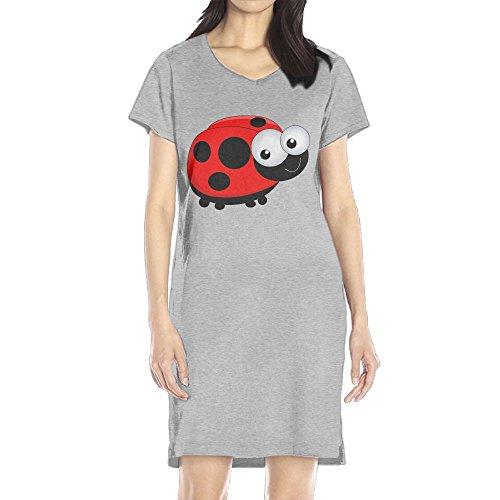 Hoeless Cute Ladybug Women's Short Sleeve Casual T-Shirt Dress XLAsh