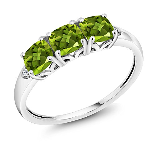 10K White Gold Green Peridot and Diamond 3-Stone Ring (1.81 Ct Cushion Cut Available in size 5, 6, 7, 8, 9)