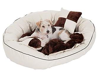 Classy Piel Sintética cama (Café y Crema) - añade un toque de lujo a su perro zona de dormir - Ideal Cosy Retreat para perros grandes: Amazon.es: Productos ...