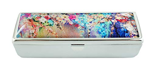 LCTCKP Y Custom Fashion Glass Lipstick Case With Mirror Lipstick Frame Cosmetic Case Jewelry Box(Abstract floral watercolor painting)
