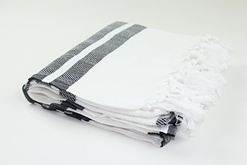 Black And White Herringbone (Premium Turkish Herringbone Towel Fouta Peshtemal Beach Bath Spa Yoga Hammam Gym Pool Towel Wrap Pareo Sarong Authentic 100% Turkish Cotton Best Quality (White & Black))