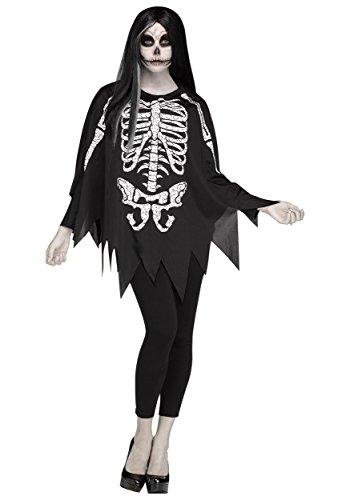 Fun World Women's Skeleton Poncho, Multi,