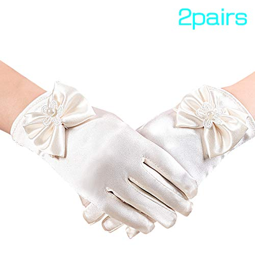 2 Pairs Flower Girl Gloves Short Princess Gloves Bow Tie Lace Gloves Faux Pearl Gloves for Wedding Party