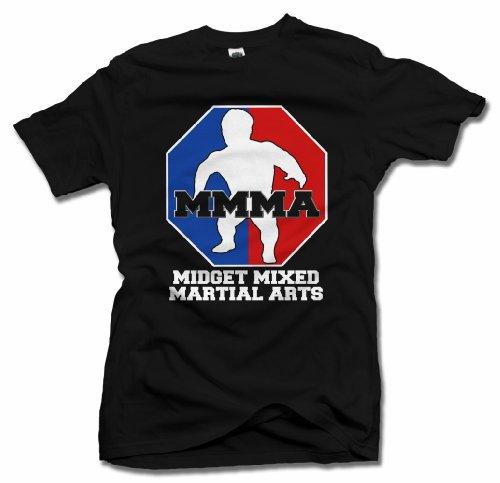 MMMA MIDGET MIXED MARTIAL ARTS FUNNY T-SHIRT XL Black Men's Tee (6.1oz)