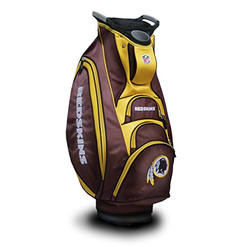 (Team Golf NFL Washington Redskins Victory Golf Cart Bag, 10-way Top with Integrated Dual Handle & External Putter Well, Cooler Pocket, Padded Strap, Umbrella Holder & Removable Rain Hood)