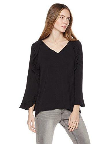 Ruffle Trim Jersey Top (Painted Heart Women's 3/4 Sleeve V-Neck Ruffle Top Small Black)