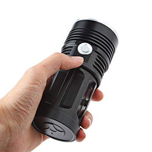 Glumes LED 38000 Lumens 15pcs Bulbs XM-L T6 Flashlight Torch, 3 Switch Mode, Need 4pcs 18650 Batteries (not Included) (Black) ()