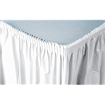 Creative Converting Plastic Table Skirt, 21.5 Feet, White