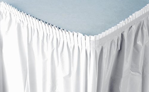 Creative Converting Plastic Table Skirt, 21.5-Feet, White
