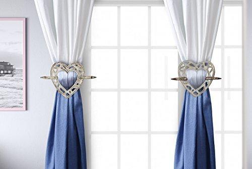 storeindya Handmade Tieback Curtains Holdback Wooden Rustic Heart Shaped Window Treatment (White)