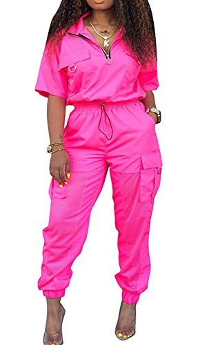 Womens Windbreaker Tracksuit 2 Pieces Outfit Drawstring Zipper Jacket Long Pants Jogger Set Pink