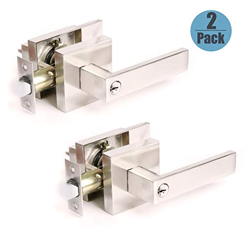Satin Nickel Finish Entry Keyed Door Locks 2 Pack, Front Exterior Outdoors Door Handles with Security, Durable Brushed Nickel Finish&Sleek Appearance, Heavy Duty Structure 2.13 lb One Lever