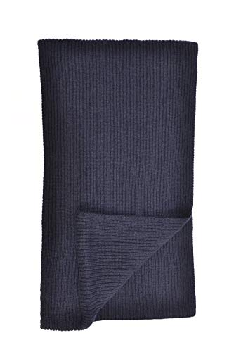 Cashmere Scarf Ribbed (Cashmere Ribbed Scarf in Dk Navy Made In Scotland)