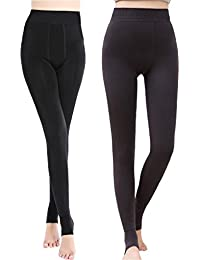 Women's Winter Warm Fleece Lined Tights High Waisted Elastic Leggings Pants (Black+Gray-Pack)