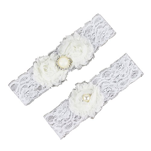 TBNA Bridal Ivory Wedding Bridal Garter Belt Set with Lace and Appliques