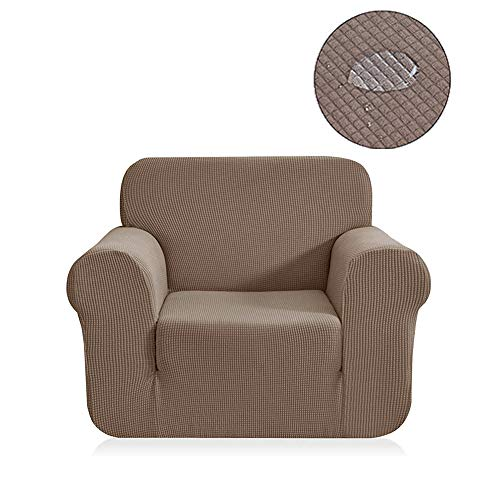 Water Repellent 1 Piece Stretch Stylish Furniture Cover/Protector Featuring Jacquqard Textured Twill Fabric, High Spandex Lycra Slipcover Machine Washable/Skid Resistance (One Seater Chair, Khaki)