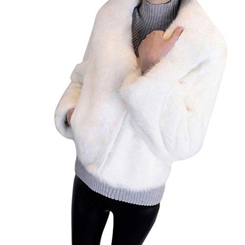 2017 Grande Taille Hiver Chaud Manteau Court Fourrure Manche longue Longra Femme Ado Chic Outerwear Jacket Doux pais Confortable Trench Femme Pas Cher Blanc