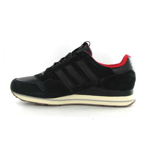 d9384a4cd1a1 Adidas ZX 500 LEA Black Leather Mens Trainers Size 9 UK  Amazon.co.uk   Shoes   Bags