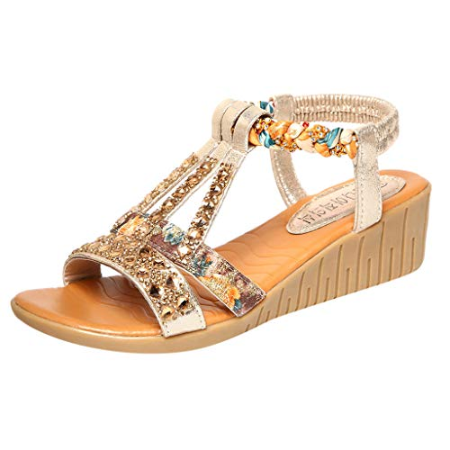 - Women's Aditi Low Wedge Dress Sandals Ladies Summer Crystal Bling Rhinestone Wedges Bohea Beach Shoes Gold
