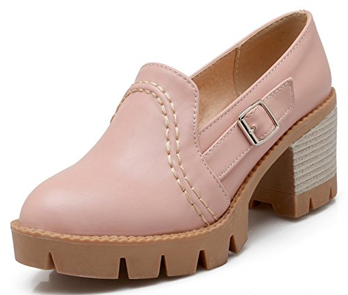 Heels Sole Women's Platform Mid Classic IDIFU Pink Lug Oxfords Booties Slip Chunky On H0Rqtxddw