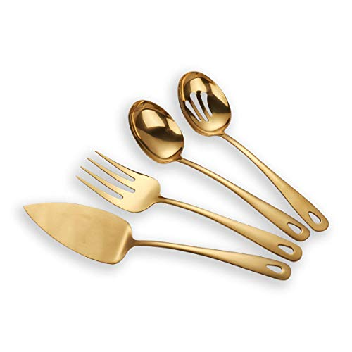 (Berglander Stainless Steel Golden Titanium Plated Flatware Serving Set 4 Pieces, Cake Server Cold Meat Fork Pierced Serving Spoon Serving Spoon, Golden Silverware Set (shiny, Golden))