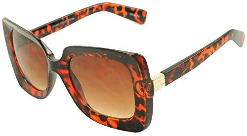 Womens Oversized Thick Bulky Square Designer Sunglasses 100  Uv400 Proection Trendy Large Classic Eyewear Glasses  Tortoise  Brown Lens