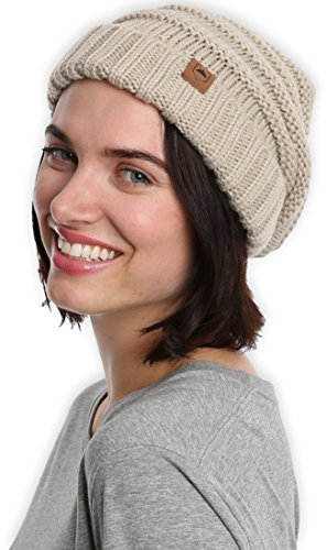 Slouchy Cable Knit Cuff Beanie by Tough Headwear Chunky, Oversized Slouch Beanie Hats for Men & Women Stay Warm & Stylish Serious Beanies for Serious Style