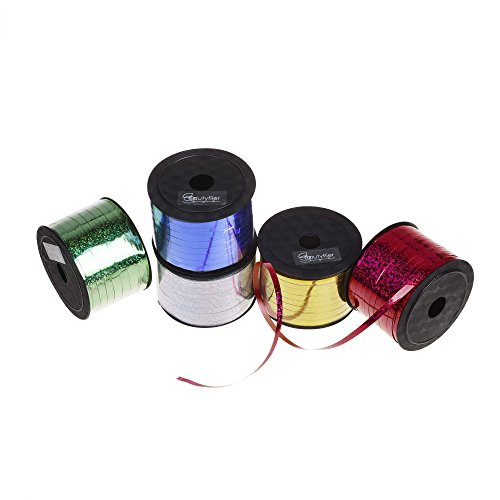 Kloud City Pack of 5 Metallic Curling Ribbon Roller 5mm 100 Yards DIY Balloon Strings for Party Florist Crafts Gift Wrapping