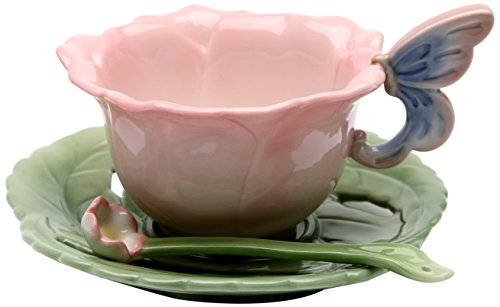 Cup Saucer Flower (Cosmos 20854 Gifts Ceramic Rose Cup and Saucer, Set of 2)
