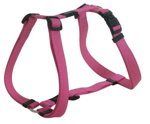 Rogz Utility Large 3/4-Inch Reflective Fanbelt Adjustable Dog H-Harness, Pink, My Pet Supplies