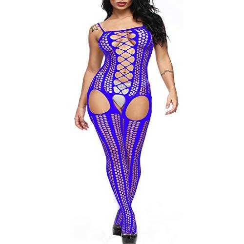 Bodystocking Dress - Floral Gartered Plus Size Party Dress Nightwear for Women (Stockings Gartered)