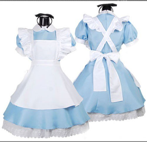 Women's Alice Wonderland Blue French Apron Maid Fancy Dress Cosplay (Girls Alice In Wonderland Fancy Dress)