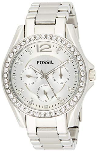 Fossil Women's Riley Quartz Stainless Steel Chronograph Watch, Color: Silver...