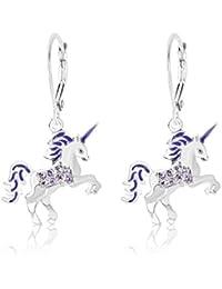 Kids Earrings - White Gold Tone Purple Enamel Unicorn Crystal Earrings with Silver Leverbacks Baby, Girls, Children