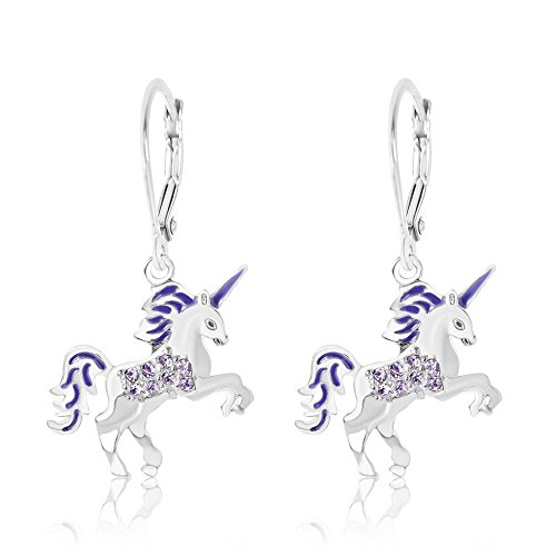 Kids Earrings - White Gold Toned Enamel Unicorn Crystal Earrings with Silver Leverbacks Baby, Girls, Children (Purple)