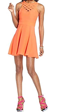 Guess Women's 10 Hot Coral Sweetheart Crisscross Fit and Flare Dress Orange