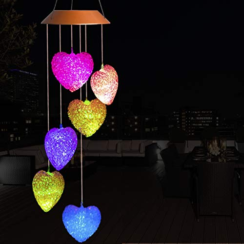 Cxff Heart Shaped Led Solar Wind Chimes Outdoor Waterproof