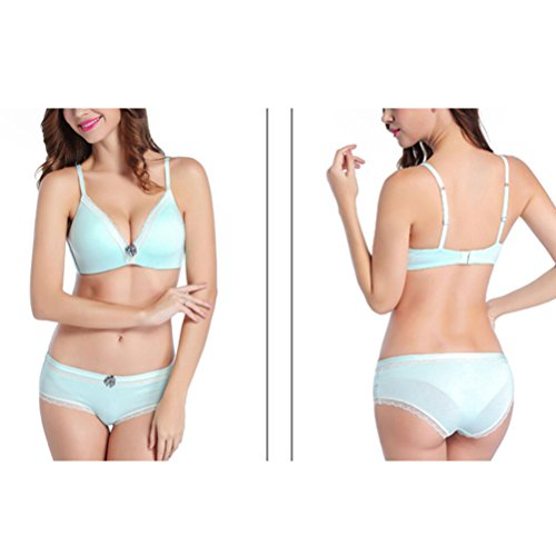 Zhhlaixing Fashion Breathable Deep V Lace Thin Cotton Cup Without Steel Ring Tied Bra New Underwear Suite for Moda Women Blue