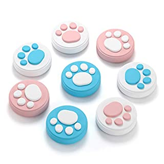 (8Pcs) Cat Claw Design Thumb Grip Caps, Hestia Goods Joystick Cap for Nintendo Switch & Lite, Soft Silicone Cover for Joy-Con Controller (Pink&Blue)