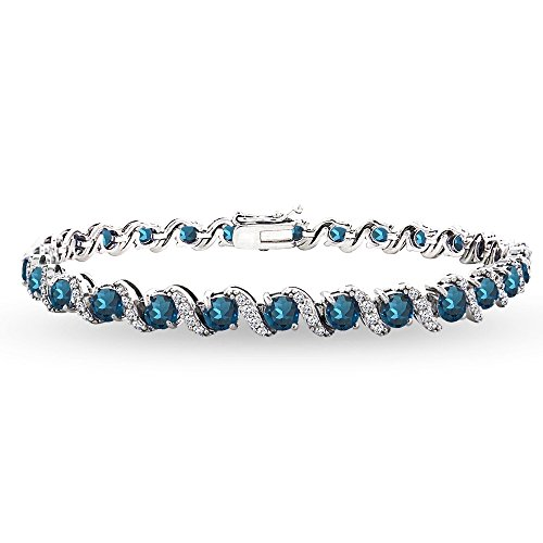 Sterling Silver London Blue Topaz 4mm Round-Cut S Design Tennis Bracelet with White Topaz Accents by GemStar USA